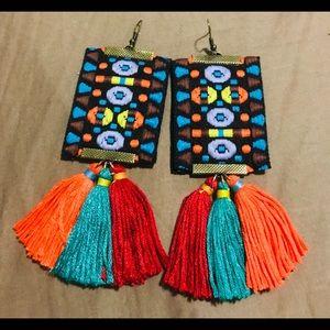 Boho Embroidered ribbon and tassel earrings